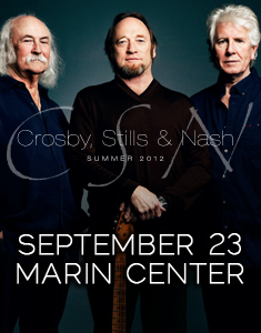 Crosby, Stills and Nash live at Marin Center in San Rafael on September 23, 2012 at 8:00 P.M.